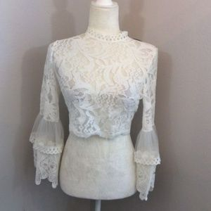 FOREVER 21 Brand New White Sheer Lace Crop Top